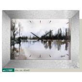 Orologio quadro LOWELL PRESTIGE con stampa alberi specchiati nel lago, toni bianco, nero, grigio 11989
