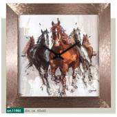Orologio quadro LOWELL PRESTIGE con stampa cavalli e cornice effetto rame metallizzato 11985