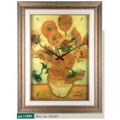 Orologio quadro LOWELL PRESTIGE con stampa vaso di girasoli VAN GOGH, cornice dorata invecchiata 11091