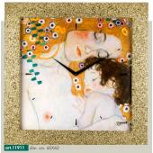 """Orologio quadro LOWELL PRESTIGE con stampa """"Le tre età della vita"""" di GUSTAV KLIMT, cornice brillantini dorati 11911"""