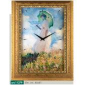 """Orologio quadro LOWELL PRESTIGE con stampa """"Frau mit sonnenshirm"""" di CLAUDE MONET, cornice effetto anticato 11379"""
