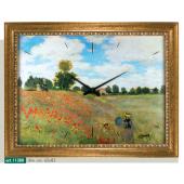 """Orologio quadro LOWELL PRESTIGE con stampa """"Mohnfeld bei argenteuil"""" di CLAUDE MONET, cornice effetto anticato 11380"""