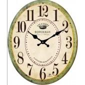 Orologio da parete in vetro ovale con stampa cornice verde JUSTAMINUTE 14859