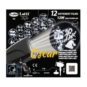 Proiettore Oscar Led con 12 giochi, per uso interno ed esterno. LOTTI GLD 4L12R