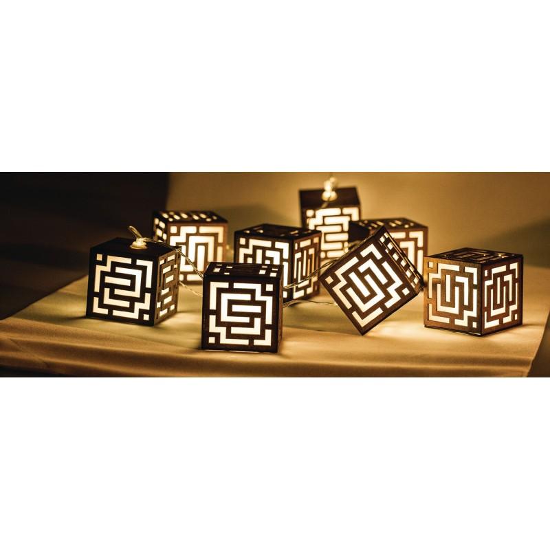 Fila di luci LED quadrate di legno a batterie HQ