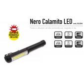 torcia metallo LED  - nera - calamita - 3 AA -