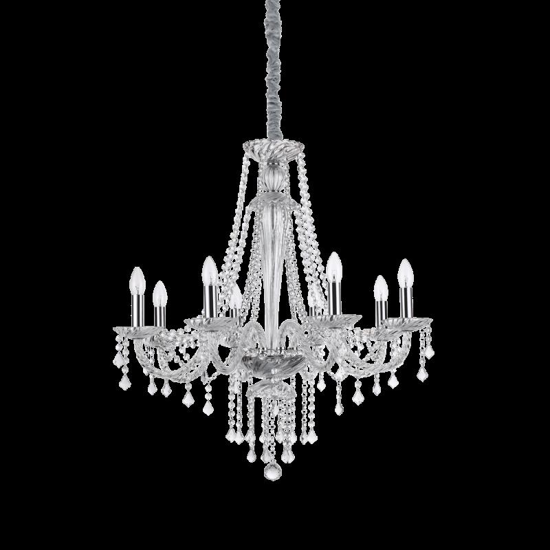 Lampadario sospensione montatura metallo cromato, elementi decorativi in vetro soffiato e cristallo molato IDEAL LUX AMADEUS SP8