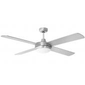 Ventilatore soffitto con luce 4 pale, color acciaio satinato EV051