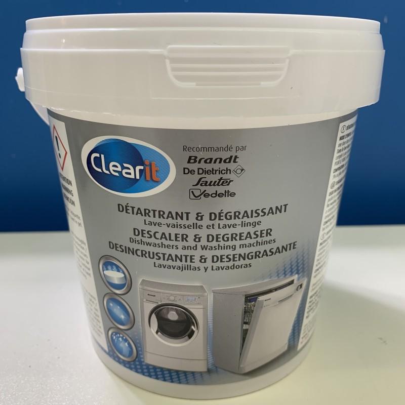 Sgrassatore anticalcare in pastiglie per lavatrice e lavastoviglie (12 pastiglie) CLEAR IT