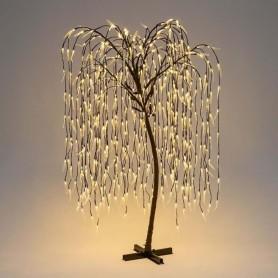 Albero salice piangente marrone 512 LED con foglie trasparenti MT2 LOLLI 28660