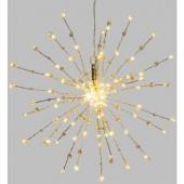 Decorazione luminosa per uso interno 90 microLED, ramo argento diametro40, perle trasparenti e rosa LOTTI