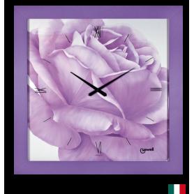 Orologio Parete VIOLA con GRANDE ROSA lowell 11790 prestige