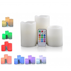 SET 3 CANDELE A LED MULTICOLOR  IN CERA A PILA DECORAZIONE NATALE CON TELECOMANDO E TIMER