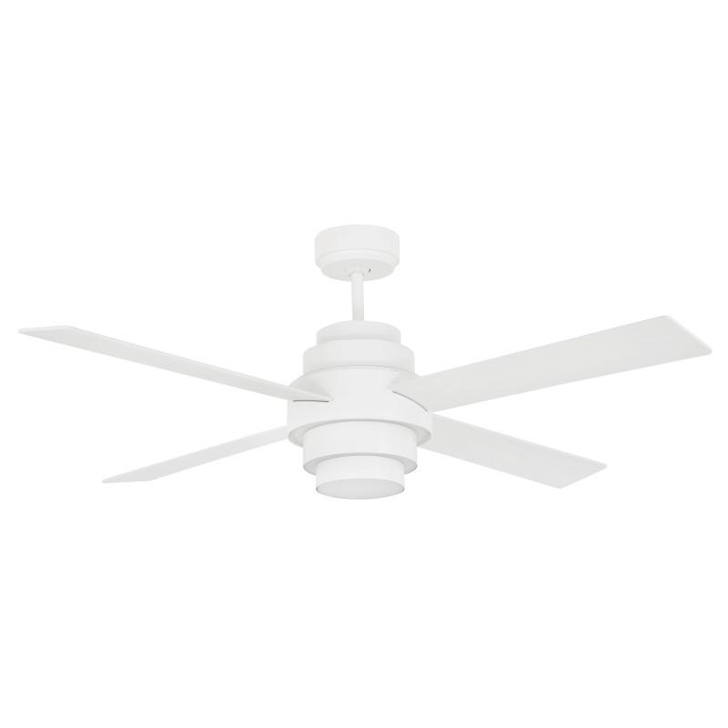 Ventilatore da soffitto con luce 4 pale, bianco, con telecomando 33397 DISC FAN FARO