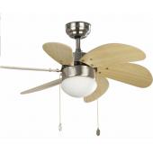 Ventilatore soffitto FARO PALAO con luce motore  in acciaio pale in legno-pino