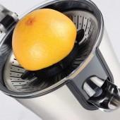 Spremiagrumi elettrico potente, per agrumi di tutti i tipi (compreso melograno). Corpo in acciaio inox , e braccio a leva. Piedi