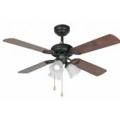 Ventilatore soffitto  FARO LISBOA con luce marrone 4 pale in legno con catena