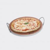 PRTX AMEG PIETRA REFRATTARIA TONDA CON MANICI PER COTTURA PIZZA IN FORNO SMEG