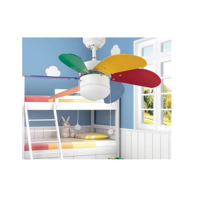 Ventilatore soffitto Colorato FARO PALAO MULTICOL con luce  per bambini 6 pale colorate