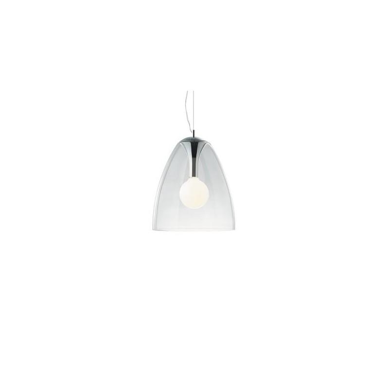 IDEAL LUX Lampada sospensione con portalampada in metallo cromato diffusore vetro trasparente AUDI 20