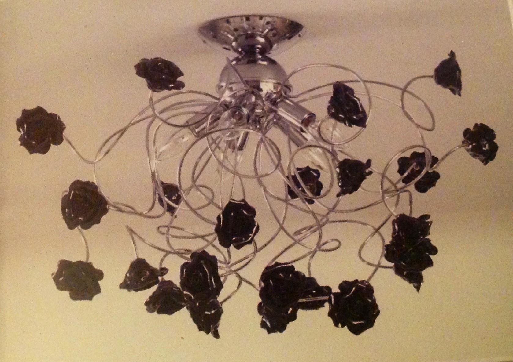 Plafoniere Con Rose : Plafoniera con rose in ceramica colorate caprice luci
